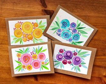 Set of 4 Floral Cards, Original Artwork