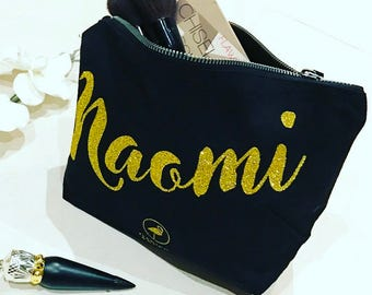 """Personalised Make Up Bag with """"Not just Beautiful on the Outside"""" Hidden Message."""