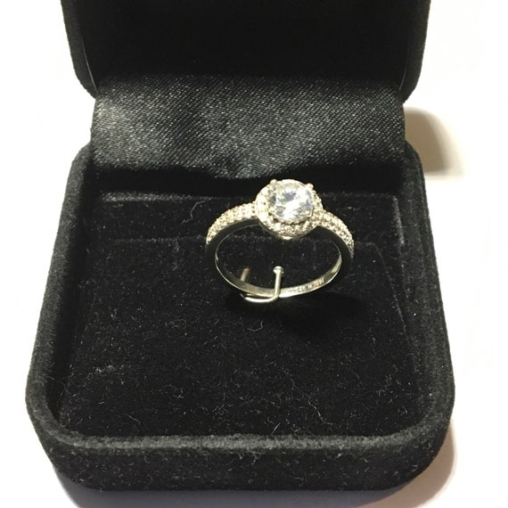 IBB CN 925 / Sterling Silver Halo Engagement Ring / 925 Solid Sterling  Silver / US size 5 3/4 (5 75) / Nro  11