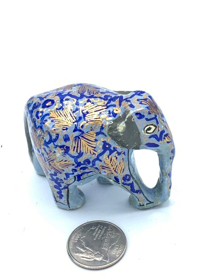 Vintage  decorative elephant hand painted gray tone
