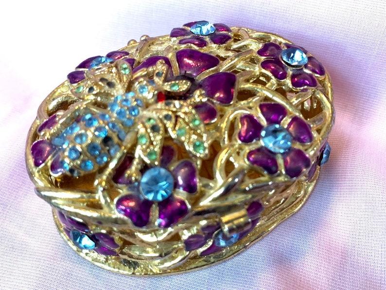 Vintage oval enamel jewelry box trinket