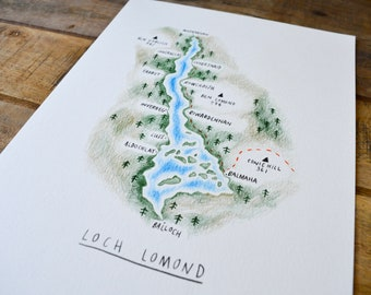 Loch Lomond, Loch Lomond print, Loch Lomond art, Scottish art, Scottish gifts, Glasgow art, Loch Lomond map, map art, Scottish Map