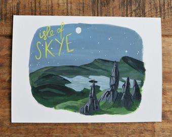 Isle of Skye print, Skye print, Skye art, Scottish gifts, scottish art, scottish highlands, scottish artists, Skye picture, Old man of storr