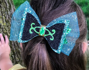 Frozen Anna Coronation Disney Inspired Glitter Hair Bow
