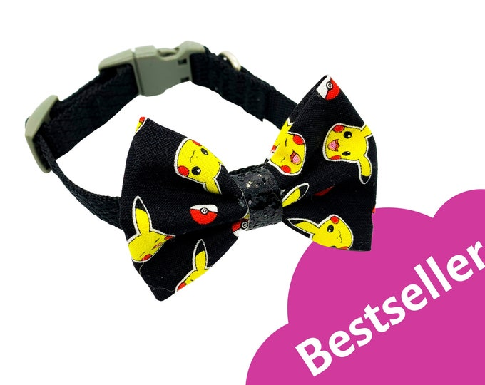 Pokemon Pikachu Inspired Pattern Fabric Dog Bowtie and Bow collar