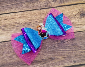 Elsa & Anna Frozen Blue Chunky Glitter and Tulle Hair Bow