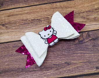 Hello Kitty Anime Inspired White and Pink Chunky Glitter Hair Bow
