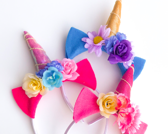 6 Six Customizable Unicorn Headbands for birthday parties, party favors, fantasy costumes, and unicorn accessories