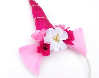 Pink Unicorn Headband with silk flowers and Pink Metallic Horn for parties, favors, Halloween costumes, and other unicorn themes