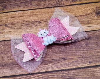 Marie Aristocats Glitter Hair Bow