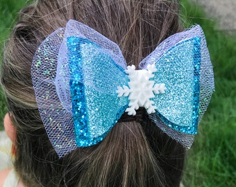 Frozen Elsa Disney Inspired Frozen Glitter Hair Bow