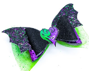 Mal Disney Inspired Descendants 3 Glitter Hair Bow