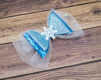 Frozen Elsa Snowflake Disney Inspired Blue Chunky Glitter and Tulle Hair Bow