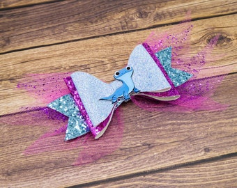 Bruni Frozen 2 Salamander Inspired Blue and Pink Chunky Glitter and Tulle Hair Bow