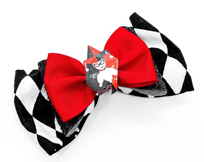 Harley Quinn DC Comics Suicide Squad Inspired Cotton Fabric Glitter Hair Bow