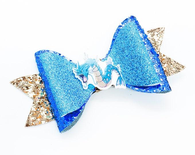 Gyarados Pokemon Nintendo Trading Card Game Inspired Blue Chunky Glitter Leather Hair Bow