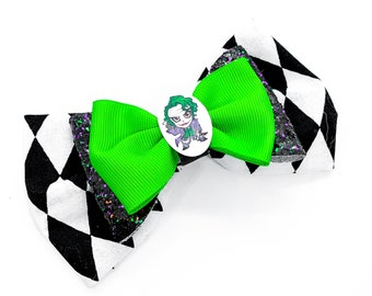 The Joker DC Comics Suicide Inspired Cotton Fabric Glitter Hair Bow