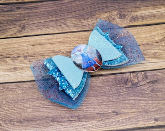 Elsa Frozen 2 Teal Chunky Glitter and Tulle Hair Bow