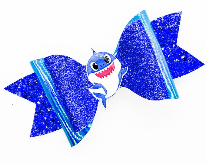 Daddy Shark Baby Shark Inspired Blue Chunky Glitter and Leather Hair Bow