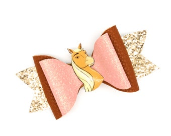 Spirit Riding Free Chica Linda Horse Dreamworks Inspired Pink Glitter Leather Hair Bow