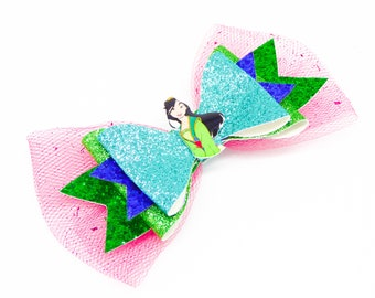 Mulan Movie Disney Inspired Princess Green Chunky Glitter and Tulle Hair Bow