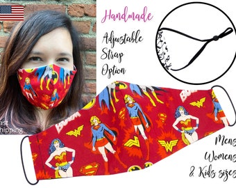 Superhero Comic Wonder Woman Supergirl Fitted Fabric Face Mask with adjustable ear straps for Men Women & children, handmade filter pocket