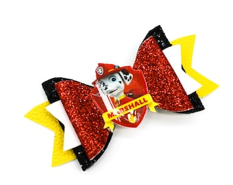 Marshall Paw Patrol Inspired Red and Black Chunky Glitter Hair Bow