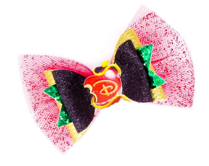Descendants Logo Disney Inspired Chunky Glitter and Tulle Hair Bow
