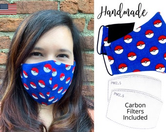 Red Pokemon Pokeball Blue Cotton Fabric Face Mask with elastic tie, for Adult Men Women and children, handmade with carbon filter pocket