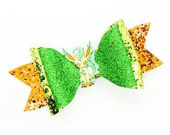 Leafeon Eevee Evolution Pokemon Nintendo Inspired Glitter Leather Hair Bow