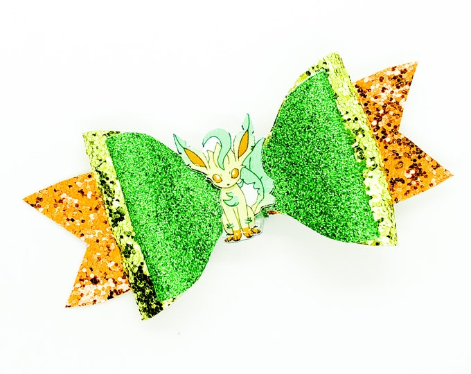 Leafeon Eevee Evolution Pokemon Nintendo Trading Card Game Inspired Green Chunky Glitter Leather Hair Bow