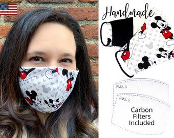 Mickey Mouse Cotton Fabric Face Mask with elastic tie, for Men Women and children, handmade and reusable, carbon filter included