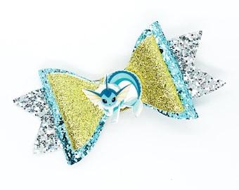 Vaporeon Eevee Nintendo Pokemon Trading Card Game Inspired Blue Chunky Glitter Leather Hair Bow