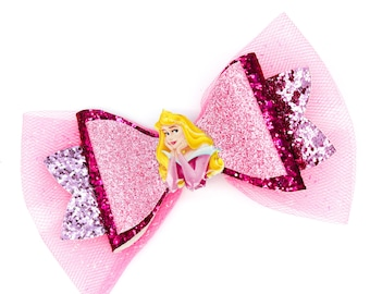 Aurora Sleeping Beauty Glitter Hair Bow