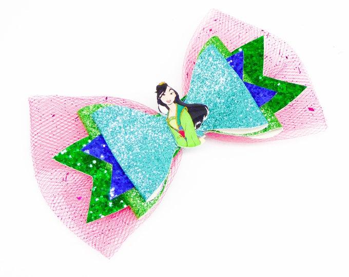 Mulan Glitter Hair Bow