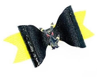 Umbreon Eevee Evolution Pokemon Nintendo Trading Card Game Inspired Black Chunky Glitter Leather Hair Bow
