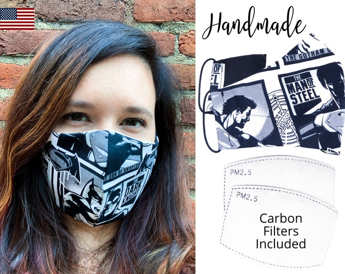 Batman Dark Knight Cotton Fabric Face Mask with adjustable elastic tie, for Adult Men Women and children, hndmade with carbon filter pocket