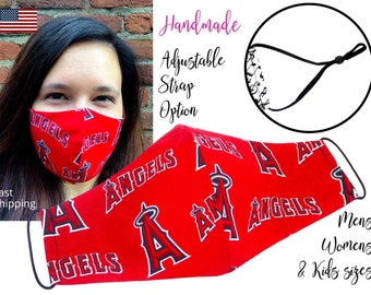 LA Los Angeles Angels Baseball Fitted Fabric Face Mask & elastic tie, for Adult Men Women and children, handmade with carbon filter pocket