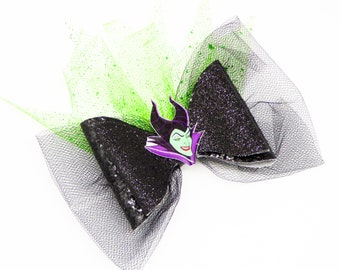 Evil Maleficent Horns Disney Inspired Sleeping Beauty Black Glitter and Tulle Hair Bow