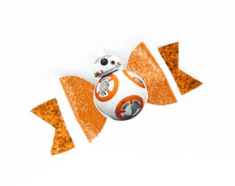 BB-8 Star Wars Disney Inspired BB8 Droid Orange Chunky Glitter Hair Bow