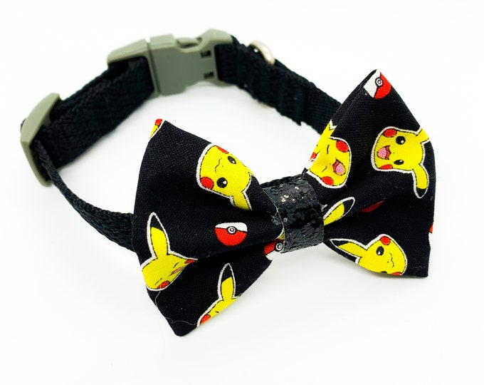 Pokemon Pikachu Inspired Pattern Fabric Dog Bowtie and Bows collar