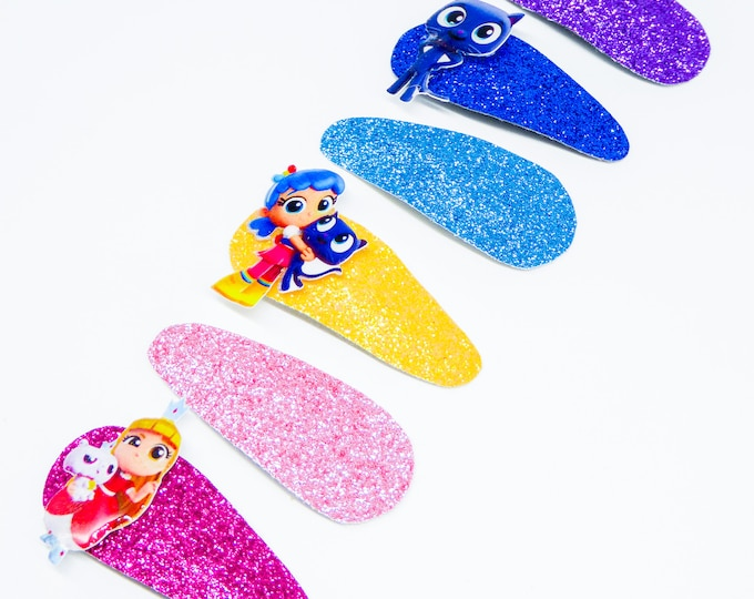 True, Bartelby, and Grizelda Rainbow Kingdom Glitter Snap Clip Set