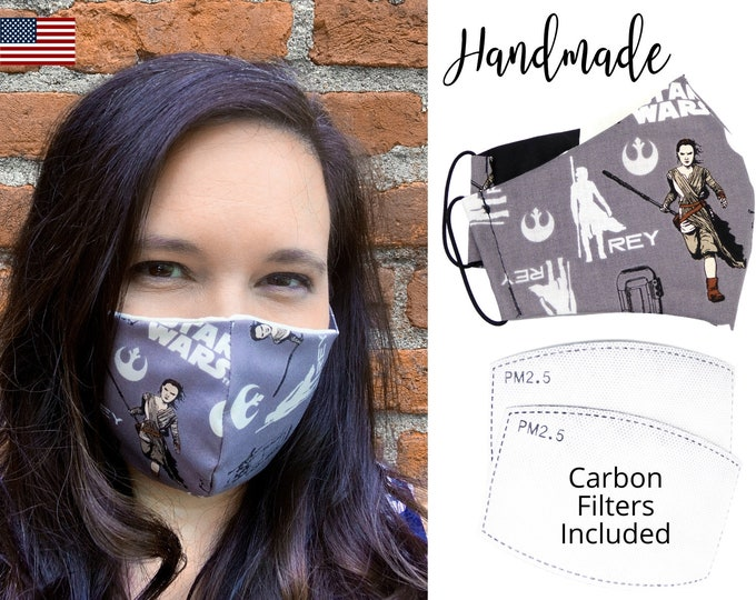 Star Wars Rey Gray Cotton Fabric Face Mask with elastic tie, for Adult Men Women and children, handmade with carbon filter pocket
