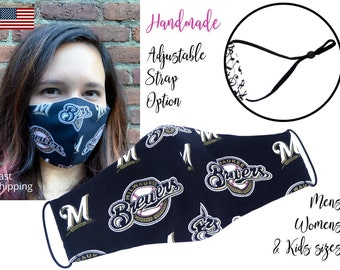 Milwaukee Brewers Fitted Fabric Face Mask with adjustable elastic tie, for Adult Men Women and children, handmade and washable filter pocket