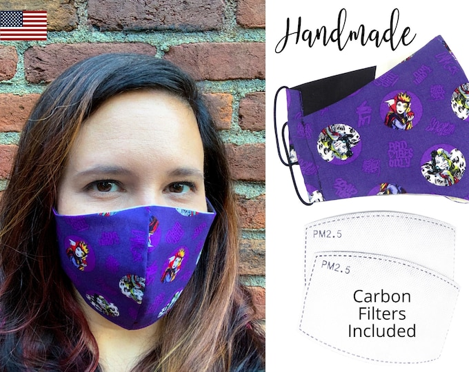 Evil Queens Purple Cotton Fabric Face Mask with elastic tie, for Adult Men Women and children, handmade with carbon filter pocket