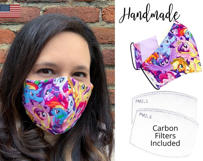 My Little Pony Cotton Fabric Face Mask with adjustable elastic tie, for Adult Women and children, handmade and washable carbon filter pocket