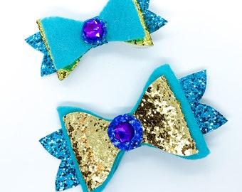 Jasmine Disney Inspired Aladdin Princess Glitter Hair Bows Set