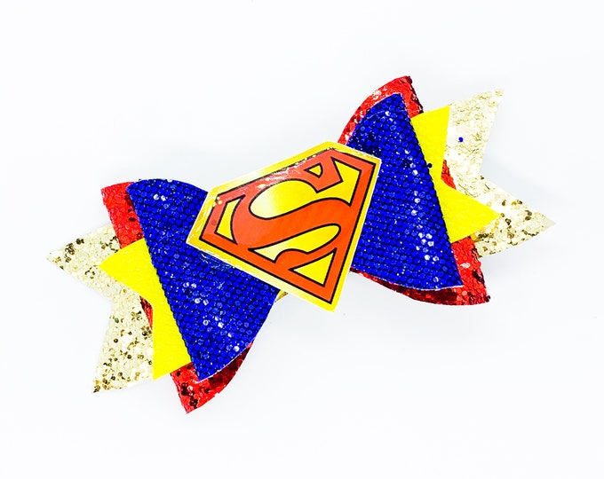 Superman DC Comics Inspired Blue Chunky Glitter Hair Bow Supergirl