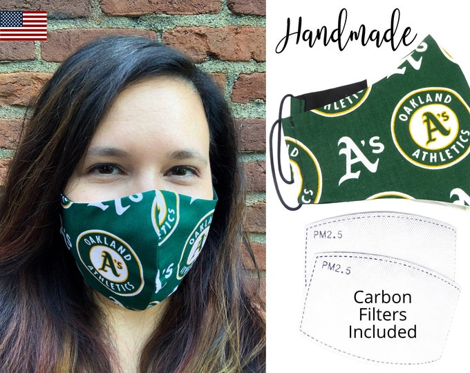 Oakland Athletics Baseball Cotton Fabric Face Mask & elastic tie, for Adult Men Women and children, handmade with carbon filter pocket