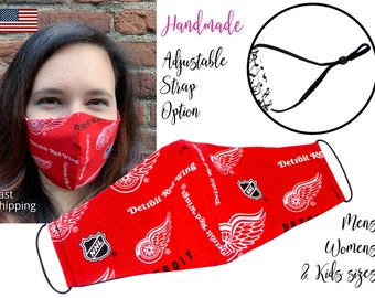 Detroit Red Wings Fitted Fabric Hockey Face Mask with elastic tie, for Adult Men Women and children, handmade with carbon filter pocket